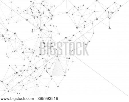 Block Chain Global Network Technology Concept. Network Nodes Greyscale Plexus Background. Interlinke