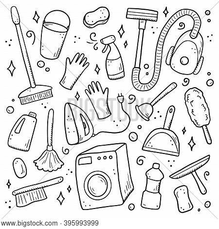 Hand Drawn Set Of Cleaning Equipments, Sponge, Vacuum, Spray, Broom, Bucket. Comic Doodle Sketch Sty