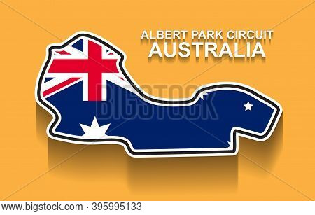 Australian Grand Prix Race Track For Formula 1 Or F1 With Flag. Detailed Racetrack