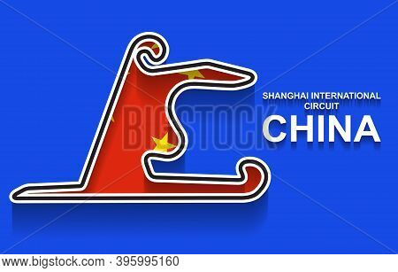 China Grand Prix Race Track For Formula 1 Or F1 With Flag. Detailed Racetrack Or National Circuit