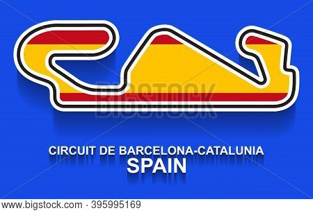 Spain Grand Prix Race Track For Formula 1 Or F1 With Flag. Detailed Racetrack Or National Circuit