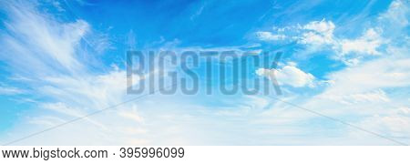 International Day Of Clean Air For Blue Skies Concept: Panorama Clear Sky And White Clouds Backgroun