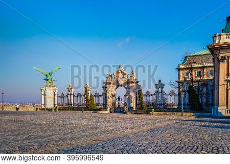 Budapest, Hungary, March 2020, View Of A Paved Concourse In Front Of The Gate Of Buda Castle