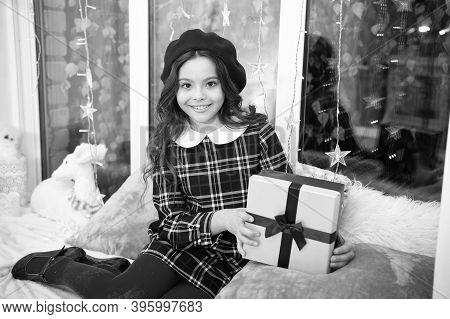 Got Holiday Gift. Small Child Hold Present Box. Happy Girl Celebrate Christmas And New Year. Holiday