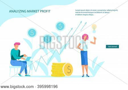 Analysing Market Profit Landing Webpage Template. Business Woman Analyst Giving Speech And Showing S