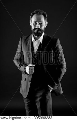 Menswear Concept. Official Event. Old Fashioned. Classics Eternal Value. Bearded Man With Formal Loo