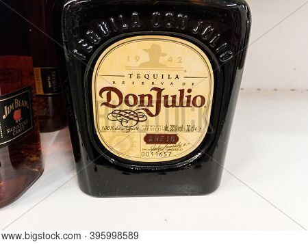 Belgrade, Serbia - November 1, 2020: Tequila Don Julio Logo On One Of Their Bottles. Don Julio Is A