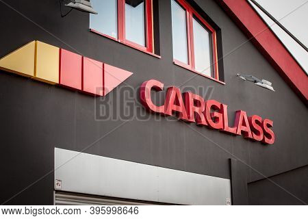 Belgrade, Serbia - October 25, 2020: Carglass Logo Ion Their Workshop. Carglass Is A Belgian Chain O