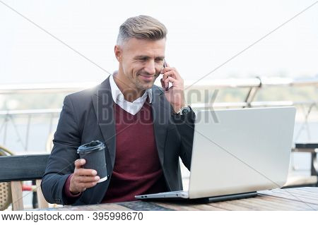Always Available. Happy Businessman Talk On Smartphone Surfing Internet. Virtual Phone Call. Busines