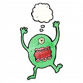 frightened monster cartoon poster