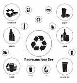 Vector icon set of recyclable materials for waste management labels, publications, infographics, etc. The set covers the main recyclable materials today. poster