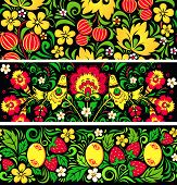 Set of seamless patterns in traditional russian style Hohloma poster