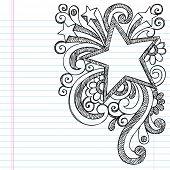 Star Frame Border Back to School Sketchy Notebook Doodles- Vector Illustration Design on Lined Sketchbook Paper Background poster