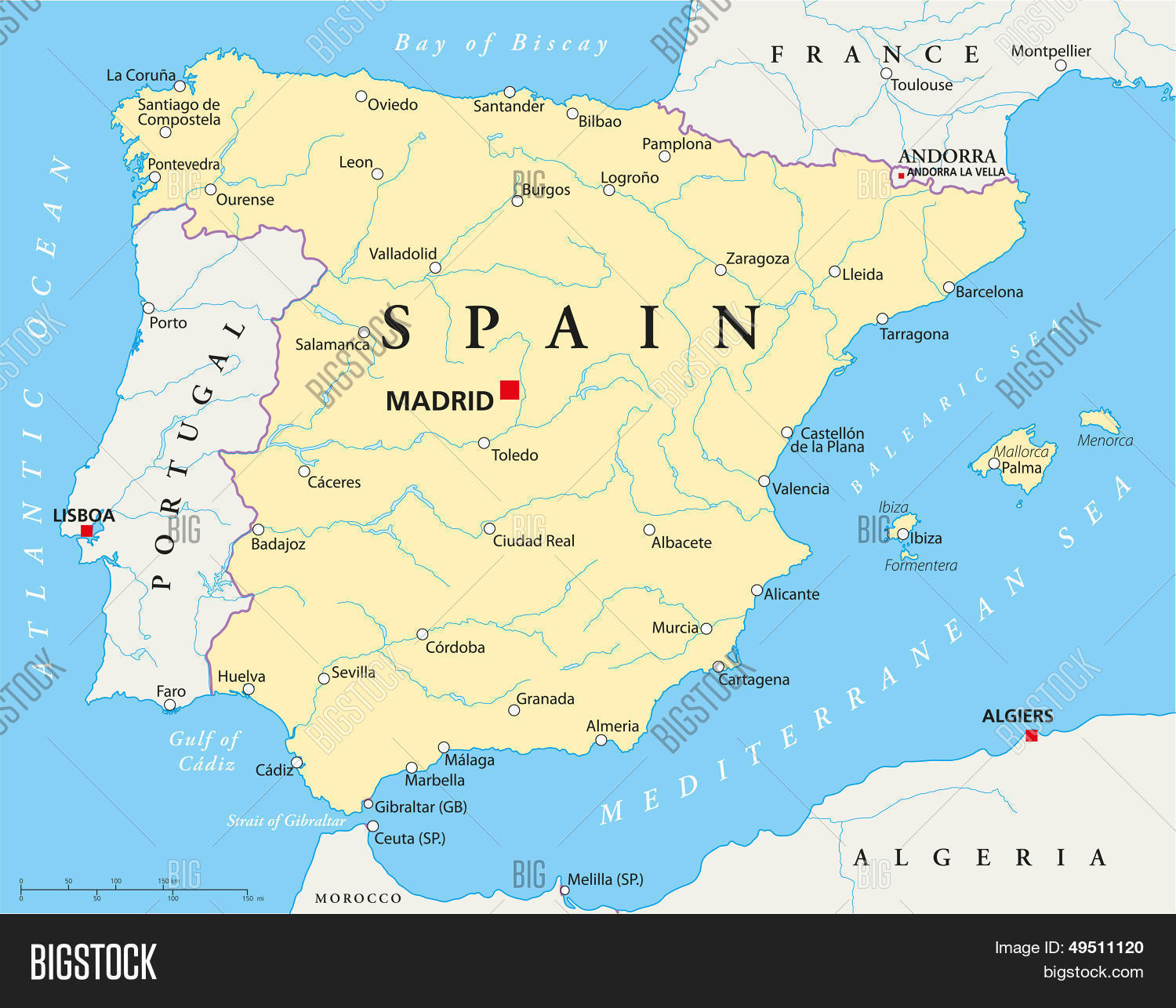 Map Of Spain Political.Spain Political Map Vector Photo Free Trial Bigstock