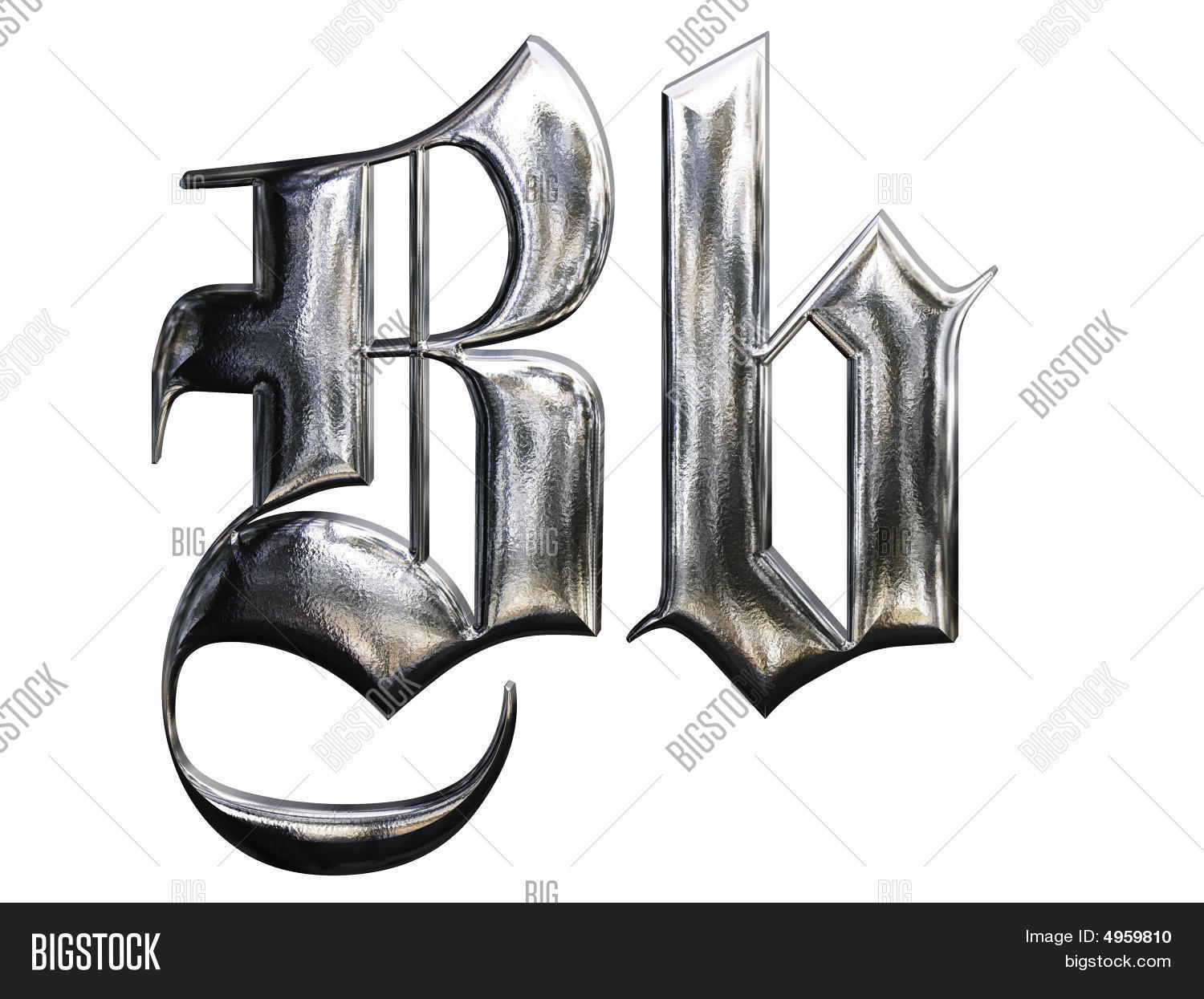 Metallic Patterned Letter Of German Gothic Alphabet Font B