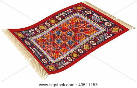 Illustration of magic carpet (flying carpet)that can be used to transport persons to their destination. poster