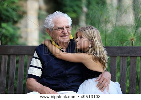 Portrait of grandfather and granddaughter
