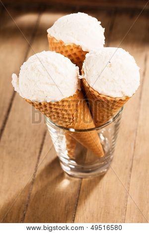 Vanilla Ice Cream Scoops In Waffle Cones