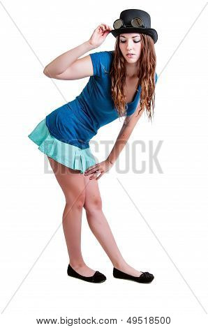 Pretty Girl In Short Skirt And Steam Punk Hat
