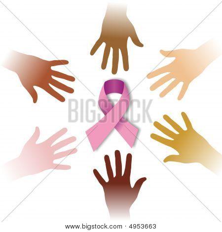 Diversity Hands Around Cancer Symbol