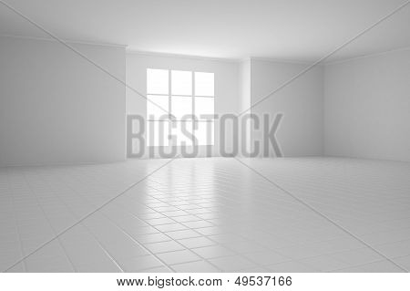 Empty White Room With Square Windows