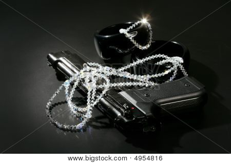 Gun And Jewels Over Black, Classic Mafia Image