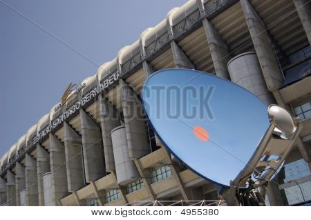 Stadium Santiago Bernabeu with a parabolic antenna in Madrid. Spain poster
