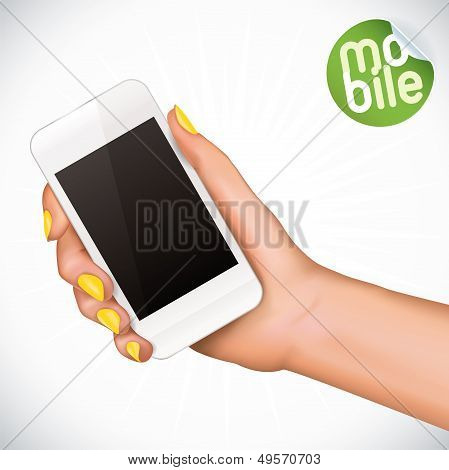 Hand Holding Touchscreen Mobile Phone