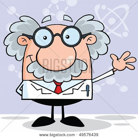 Funny Scientist Or Professor Smiling And Waving Cartoon Character poster