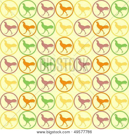 Seamless Cock Chicken Pattern Vector.eps