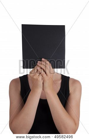 A Person Hiding Behind a Black Square Isolated poster