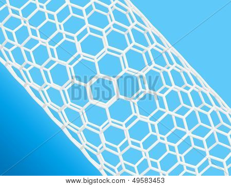 Nanotube Structure On Blue Background