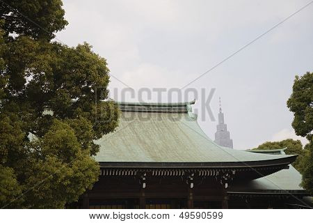 Skyscraper Behind Meiji Shrine