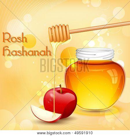 illustration of Rosh Hashanah background with honey on apple
