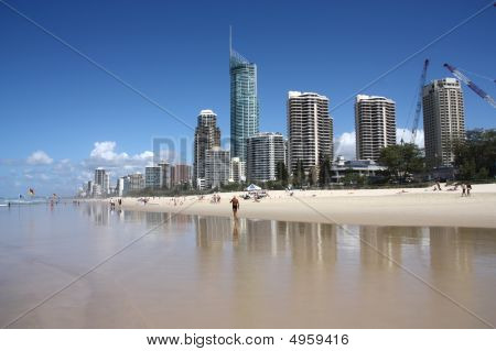 Apartment buildings with prominent Q1 tallest residential building in the world - Surfers Paradise town in Gold Coast region of Queensland Australia poster