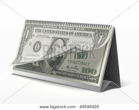 Calendar with dollar bills