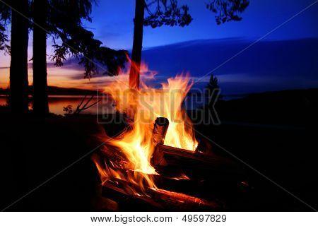 Campfire By A Lake