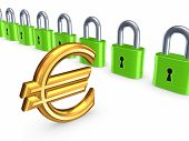 Colorful locks and sign of euro.Isolated on white.3d rendered. poster