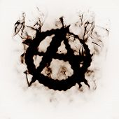 illustration of anarchy sign in the smoke poster