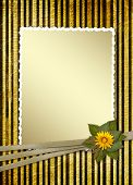 Postcard for invitation with gold frame and floral branch poster
