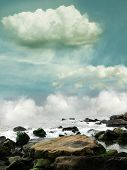 Fantasy landscape in the ocean with rocks poster