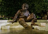 WASHINGTON, DC - AUGUST 17 2013 - The Einstein Memorial. Statue of Albert Einstein holding a book, located at the National Academy of Sciences in Washington DC poster