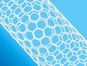 Nanotube structure on blue background, science theme poster