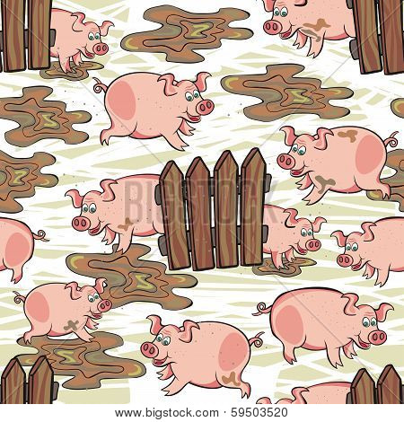 happy pink dirty pig free run animal wildlife seamless pattern on messy white background poster