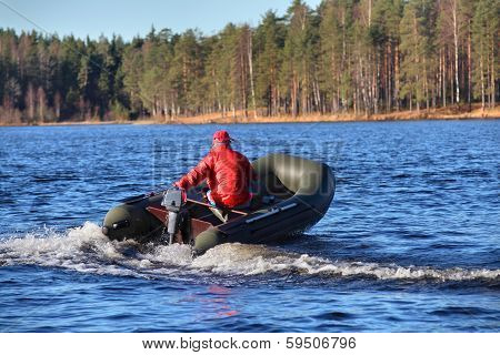 Dark Green, Inflatable Rubber Dinghy Boat With Motor, Forest Lake.