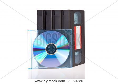 Old Video Cassette tapes with a DVD disc