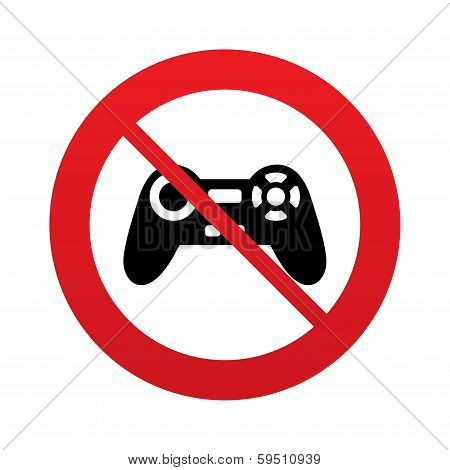 Don`t play. Joystick sign icon. Video game symbol.