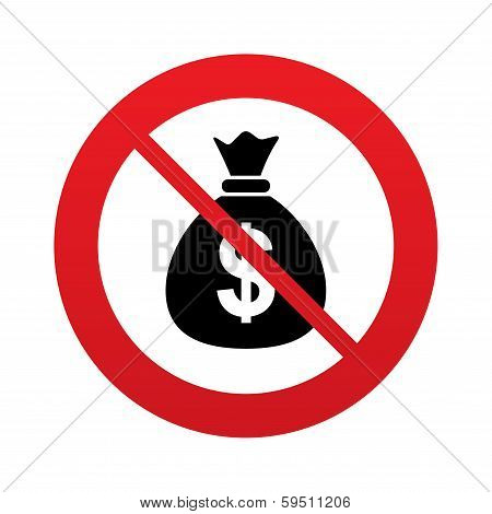 No Money bag sign icon. Dollar USD currency.