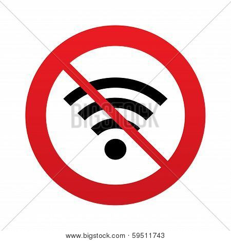 No Wifi sign. Wi-fi symbol. Wireless Network.