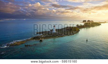 nassau bahamas, lighthouse, and paradise island at dawn
